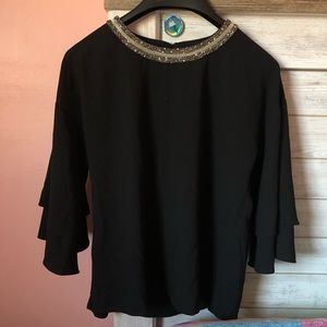 Black Gilli Embellished Neck Blouse